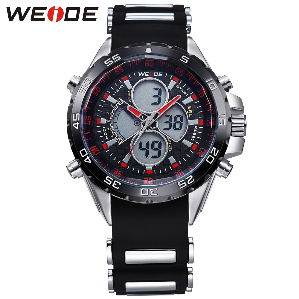 ФОТО WEDIE Brand Mens Analog Digital Watches Stainless Steel Back Water Resistant Round Case  Silicone Strap Quartz Movement Clock