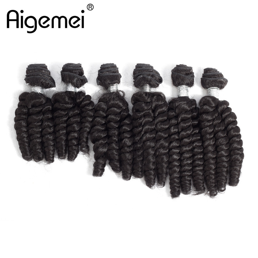 Aigemei Hair Weaving Loose Wave Synthetic High Temperature Fiber Extensions For Full Head 6pcs/ lot 200g 10 12 14 inch