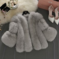S 4XL New Winter Warm Women's Fox Fur Slim Fur Jacket Coat Furry Vest Elegant Thick Warm Fake Fur