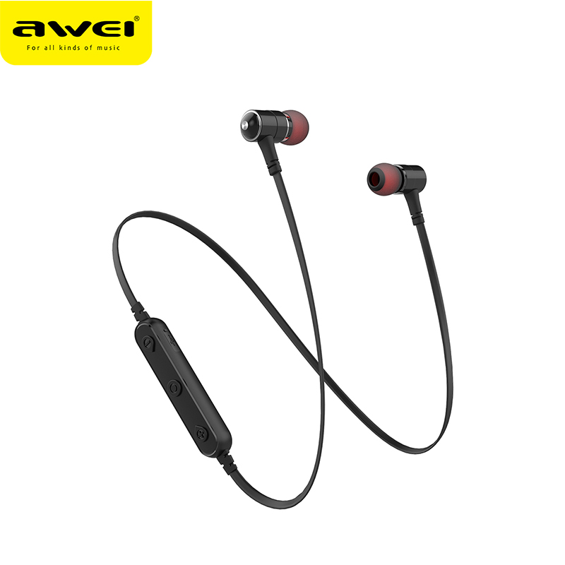 AWEI B930BL bluetooth headset with microphone noise cancelling stereo wireless sports earphones magnetic earbuds for phones