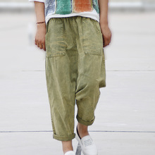Женщины Повседневная Отбеленные Карманы Denim Cross Брюки Джинсы Корея Свободные Дамы 2016 Джинсовые Брюки Джинсы Мода