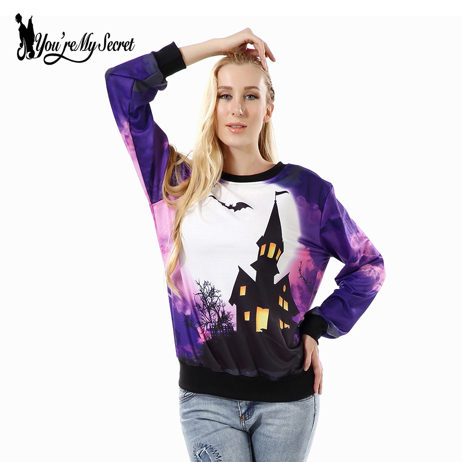 [You're My Secret] Halloween Print New Autumn Winter Women Print Hoodies Casual Sweatshirt Long-Sleeve O-Neck Purple Sudaderas