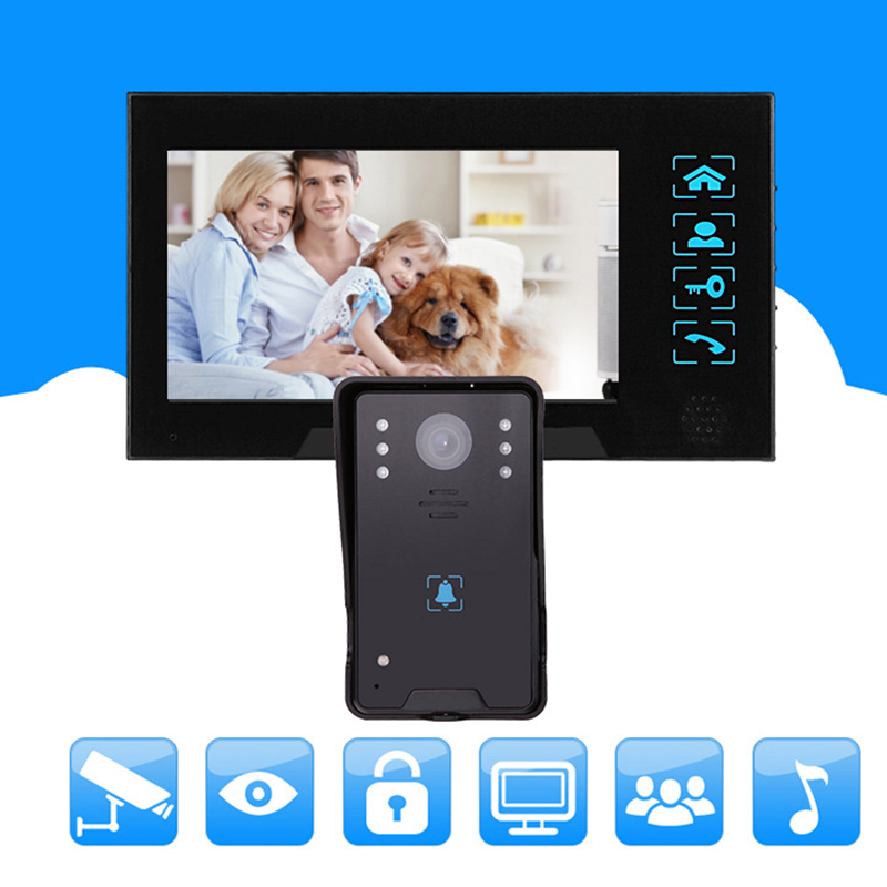 7inch Home Doorbell Intercom Unlock Night Vision Funtion Press Key Lcd Monitor For The House Security Coms Camera Video Door P in Doorbell from Security Protection