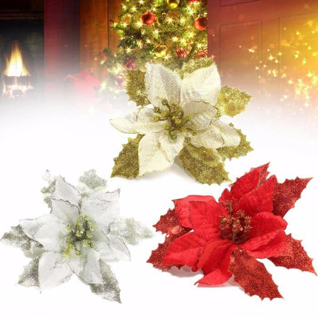 2018 newest christmas tree decorations artificial flowers xmas 15cm poinsettia glitter flower wedding ornament decor - Poinsettia Christmas Decorations
