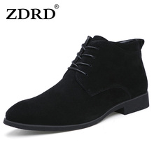 2016 New Winter Men Boots High Quality Genuine Leather Ankle With Fur British Style Solid Lace-up Motorcycle