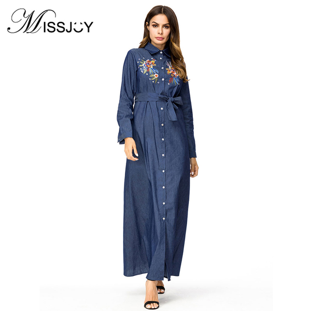 a452d418ce2 MISSJOY Fashion Abaya Dubai Shirt Denim Dress abaya Belt Turkis Embroidery  Long Sleeve Flower Casual Maxi Dress caftan marocain