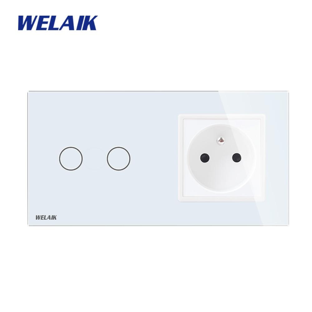 WELAIK 2Frame-Crystal Glass-Panel Wall-Switch EU Touch-Switch Screen-Wall-France Socket-2gang-1way AC110~250V A29218FCW/B