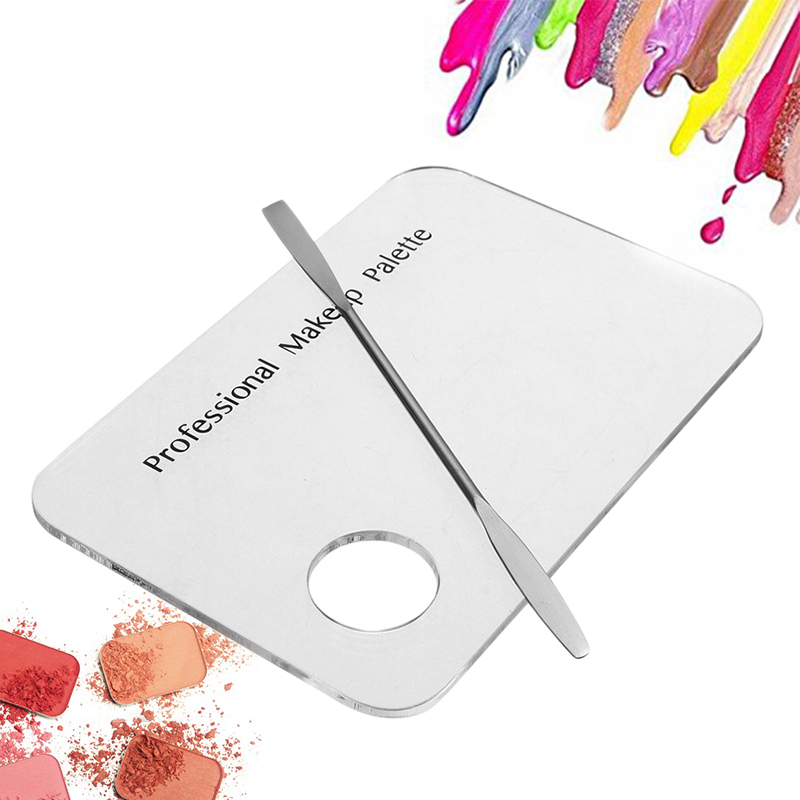 Makeup Palette Clear Acrylic Nail Stamping Plates Polish Gel Mixing Spatula Foundation Eyeshadow Stainless Steel Rod Manicure