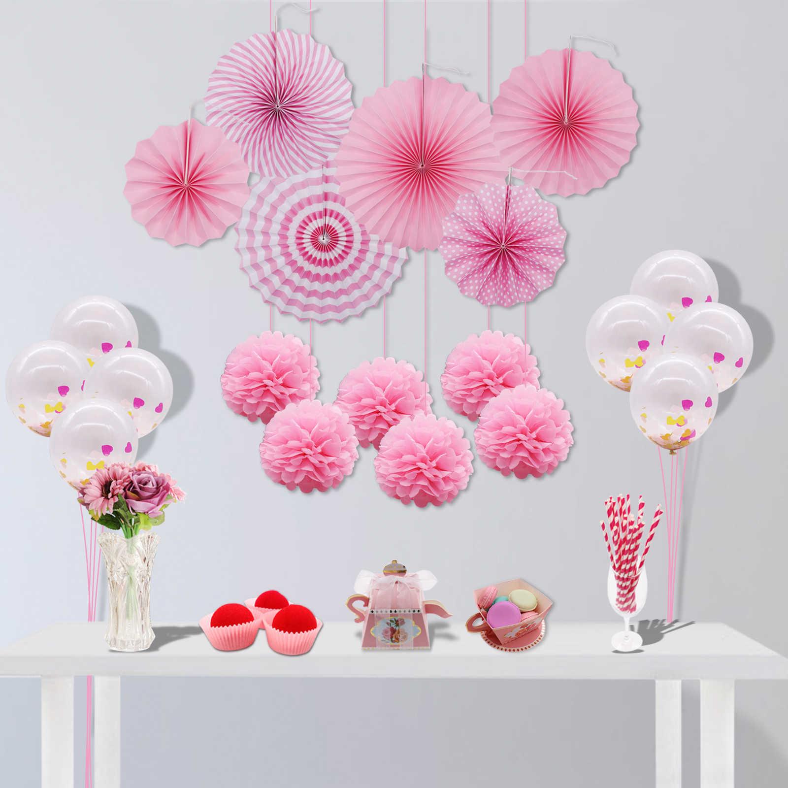 77dc64c48582 DIY Wedding Decoration Flower Paper Fan Rose Gold Birthday Party Balloons  Lantern Honeycomb Ball Baby Shower