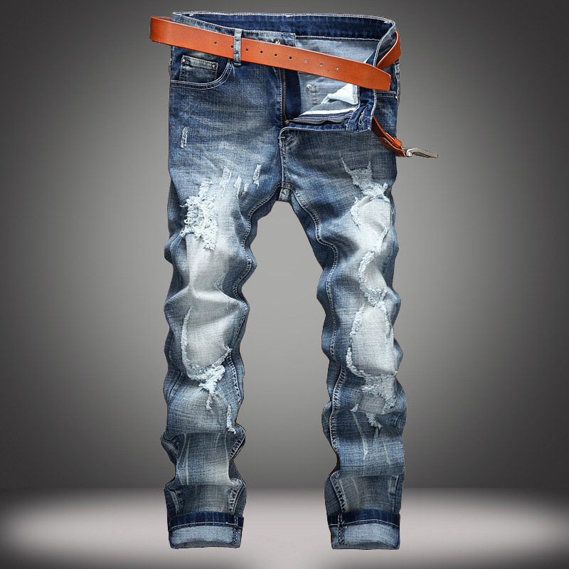 Europe and United States casual hole jeans men tide autumn and winter beggars fitted men jeans Slim stretch trade denim trousers
