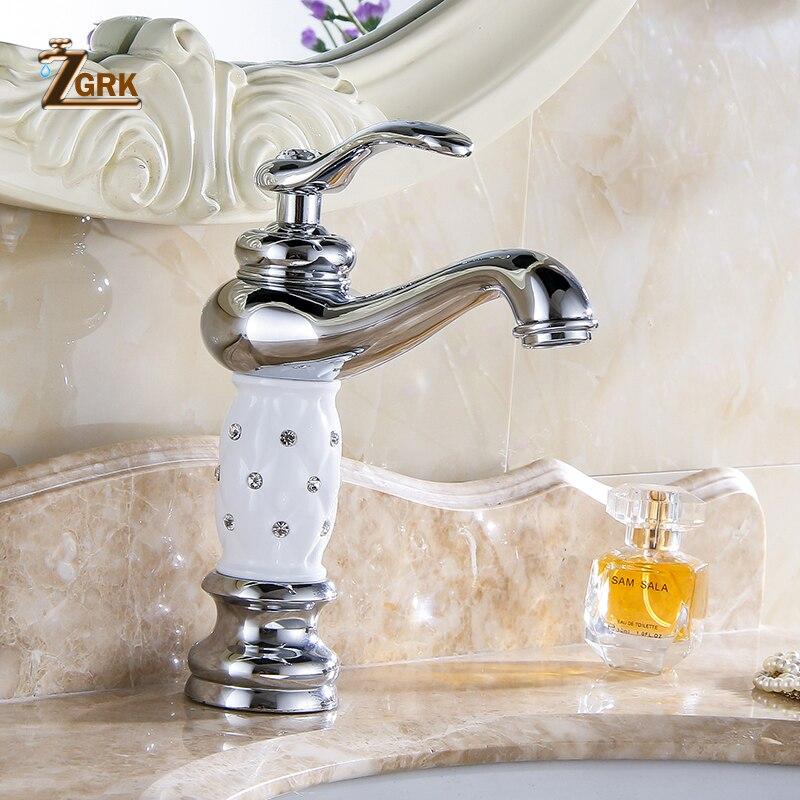 ZGRK robinets de bassin doré salle de bains évier robinet Design créatif cristal pont monté eau chaude et froide mitigeur monotrou robinets - 3