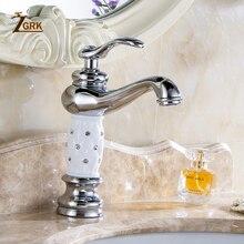 Zgrk torneiras de pia do banheiro dourado, design criativo, deck de cristal montado, água quente e fria, único furo, misturador, torneiras