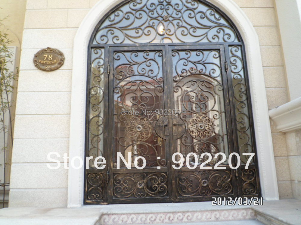 Custom Design Iron Entry Door Glass Iron Enry Door Wrought Iron Door