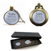 FAITH HEBREWS 11 1 Pendant Bible Quote Jewelry Scripture Pendant Faith Necklace Pocket Watch With Free