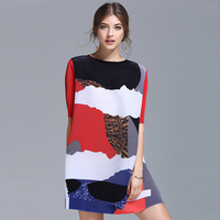 2017 Spring New Fashion Women Hit Color Patchwork Pleated Dress Loose Short Sleeve Above Knee Length