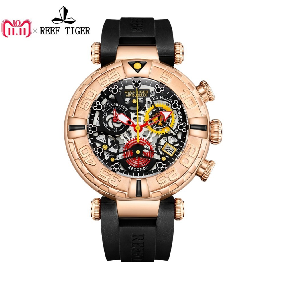 Reef Tiger/RT Top Brand Mens Sport Watches Rose Gold Skeleton Watches with Chronograph reloj hombre masculino RGA3059-S