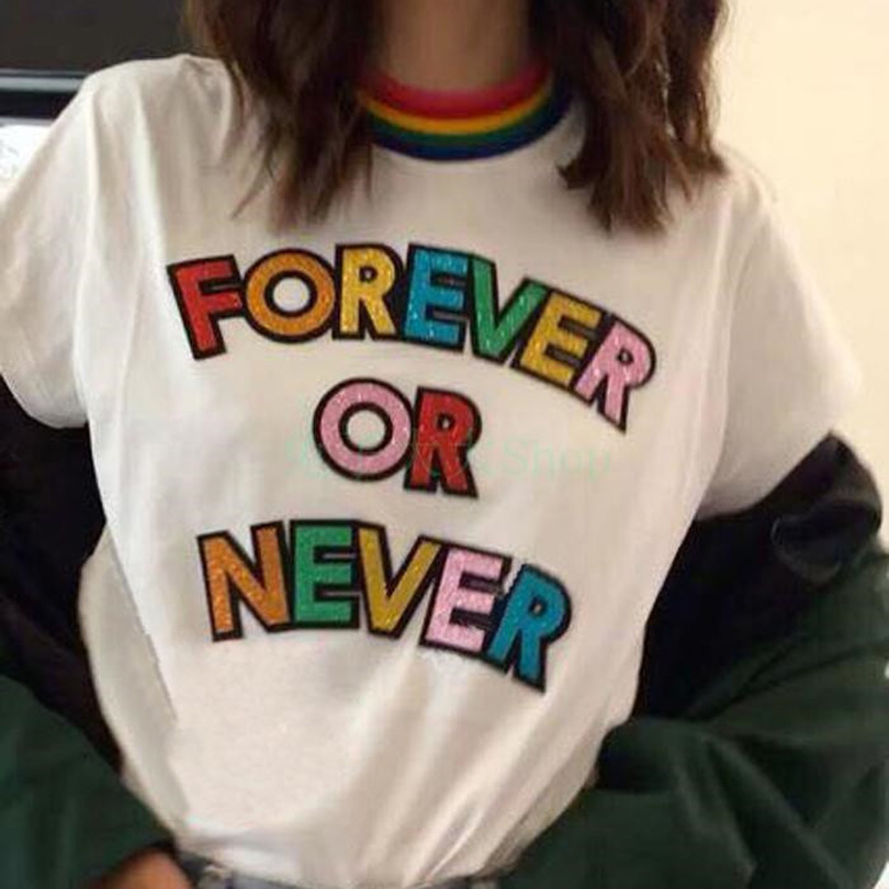Women 2018 Summer Fashion Tees FOREVER OR NEVER Tshirt Harajuku Girls Loose Rainbow Letters Stripe Collar Tops Casual T-Shirts