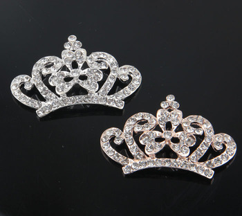 120pcs/lot Wholesale Bling Alloy Rhinestone Crown Button For Headband Metal Flatback Wedding Tiara Beads For Jewelry Findings