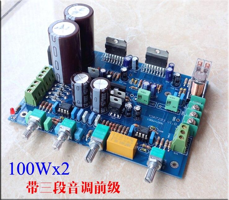 Carte amplificateur NE5532 TDA7293 100 W + 100 W avec trois sections de la pré-tonalité