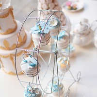 Stainless Steel 8 Cup Ferris Wheel Silver Cupcake Stand Cake Holder Decorating Display Wedding Party Supplies