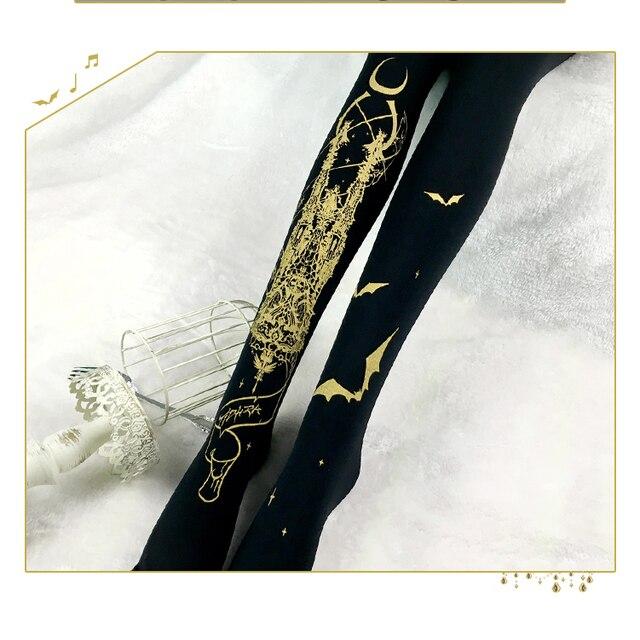 Iglesia de Luna Susurro Yidhra Gothic Lolita Pantimedias Bat Impreso Medias de Las Mujeres