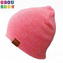Gsou Snow otoño invierno cálido sombreros de esquí para hombres mujeres  Thicken algodón Snowboard punto Cap Hip Hop Bonnet Beani. a8d0eb00e27