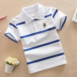 Crianças de manga curta meninos camisa polo listrado crianças menino topos t algodão escola polo camisas 2018 verão meninas meninos polo camisas