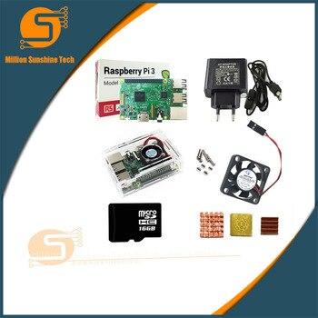 Raspberry Pi 3 Kit + Boîtier Acrylique + Alimentation + Câble USB Avec Interrupteur + Carte Micro SD 16G + Dissipateur De Chaleur Avec Wifi Bluetooth