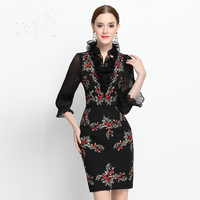 Luxury Dress New 2017 Spring Summer Women Sexy V Neck Flare Sleeve Flowers Embroidery Mini Slim