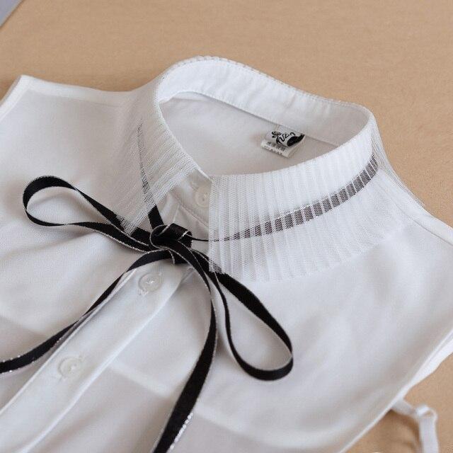 Las mujeres falso Collar de camisa blanca de encaje corbata falsa camisa de cuello falso Collar para las mujeres Collar falso Peter Pan mujer
