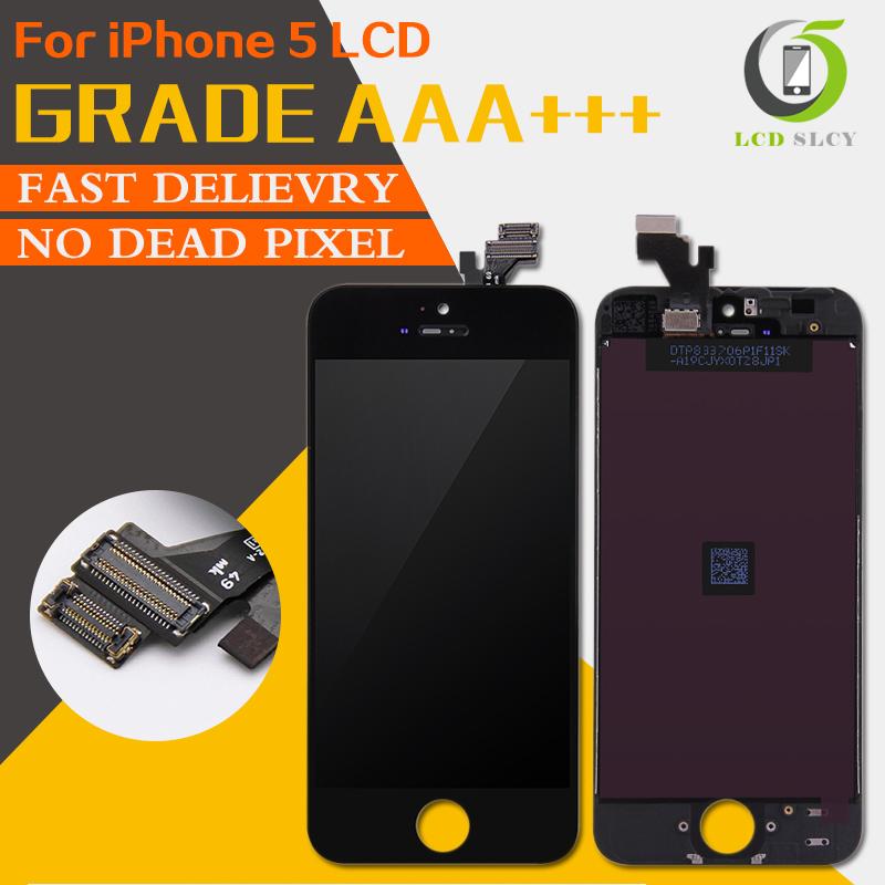 Prix pour 10pcs100% aucun pixel mort grade aaa pour iphone 5 écran lcd écran tactile avec digitizer assemblée pièces de rechange livraison gratuite
