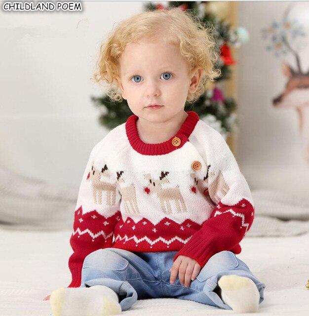 Chàng trai Áo Len Mùa Đông Bé Áo Len Giáng Sinh Deer Dệt Kim Bé Áo Len Cashmere Cho Trẻ Sơ Sinh Toddler Cô Gái Áo Len Trẻ Em Trai Chiếc Áo Len
