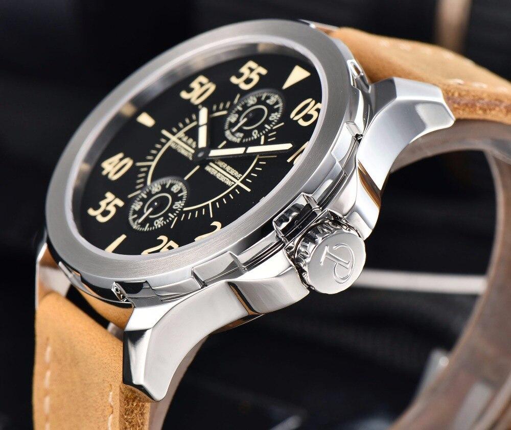 2017 التلقائي ووتش الرجال Parnis 43 مللي متر الميكانيكية ساعة معصم قوة الاحتياط تاريخ السيارات-في الساعات الميكانيكية من ساعات اليد على  مجموعة 2