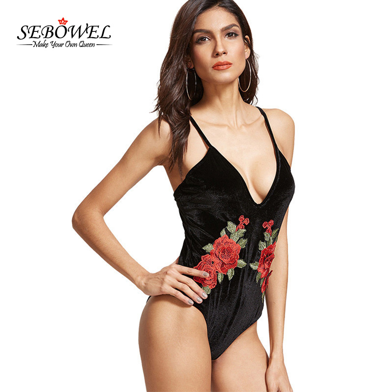 SEBOWEL New Women Bodysuit Black Velvet Floral Rmbroidery Sexy Bodycon Flower Body Overalls Rompers Summer Bodysuits XL
