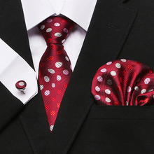 Men`s Tie 100% Silk Red Novelty Geometric Jacquard Woven Tie+Hanky+Cufflinks Set For Formal Wedding Business Party