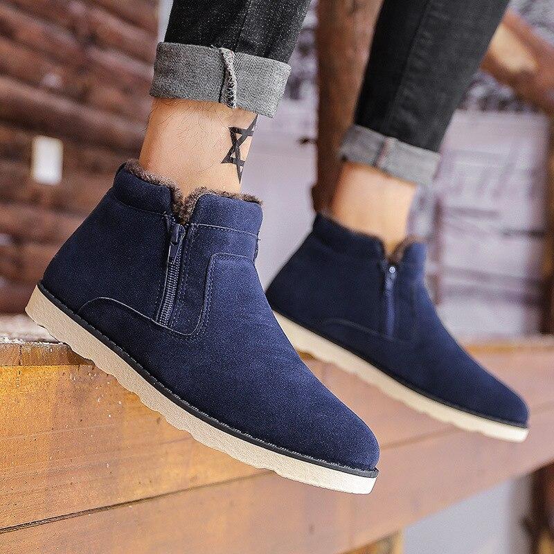 Algodón Homme Casual Zapatos naranja Corta azul Botas Impermeable De 1 Los Chaussure Caliente Estudiantes Nieve Piel Hombres Invierno qv6xBw