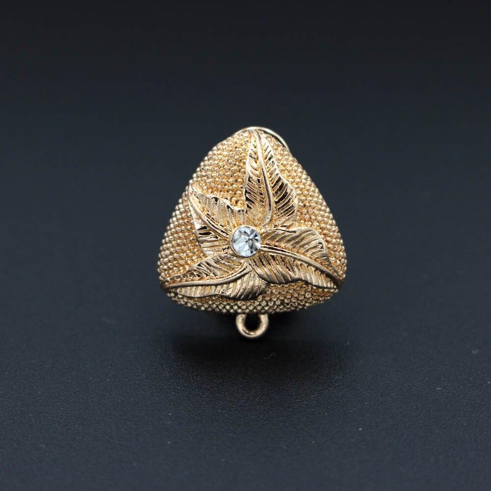 Африканские Клипсы Серьги Пост петля вешалка проложили CZ в виде треугольника результаты DIY Израиль Дубай золотого цвета женские свадебные ювелирные изделия - Цвет: gold tone