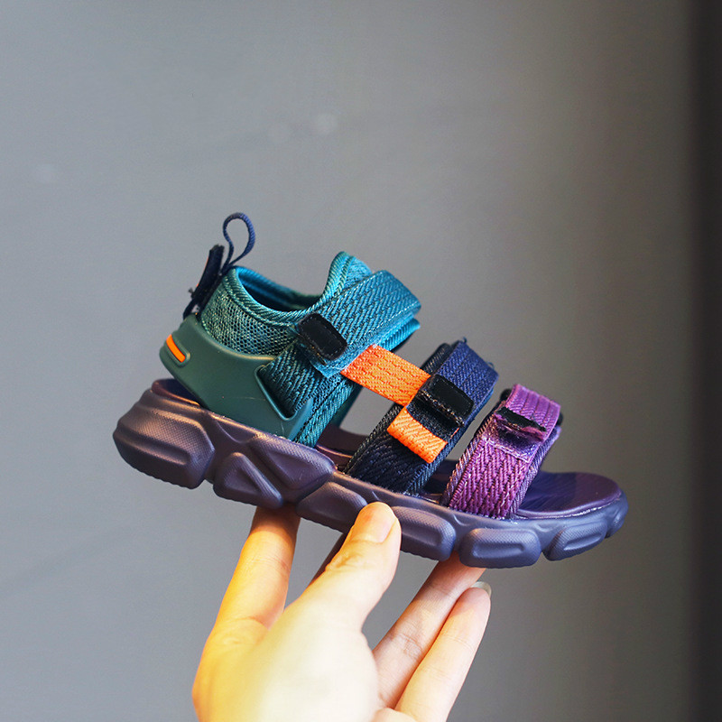 Kids Colorful Sandals Ribbons Girls Fashion Sandals Purple Children's Sports Sandals Good Quality Soft-soled Beach Shoes 21-37