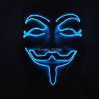 Специальные V значит вендетта маска EL Провода маски партия 50 шт. люминесцентные холодный свет маска для Хэллоуина события Неоновые украшени