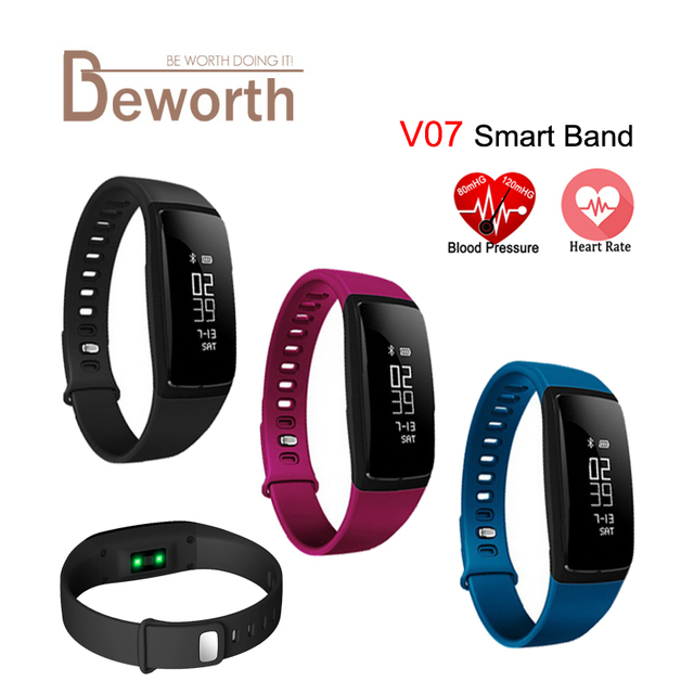 V07 Smart Bracelet Blood Pressure Heart Rate Monitor Band Watch Smartband Fitness Pulse Meter Activity Tracker for Android iOS