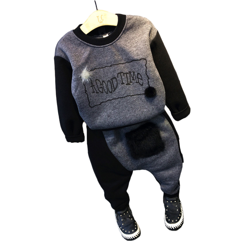 Boys Winter Clothes Set 2017 Children Thick Warm Sports Suit Casual Boys Letter Clothing Sets Tracksuit children clothing 2-7T