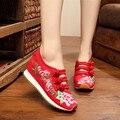 2016 осень Китайский Старый Пекин Новый Вышивка обувь Туризма национального увеличился пятки спортивного танца вышитые туфли 34-40