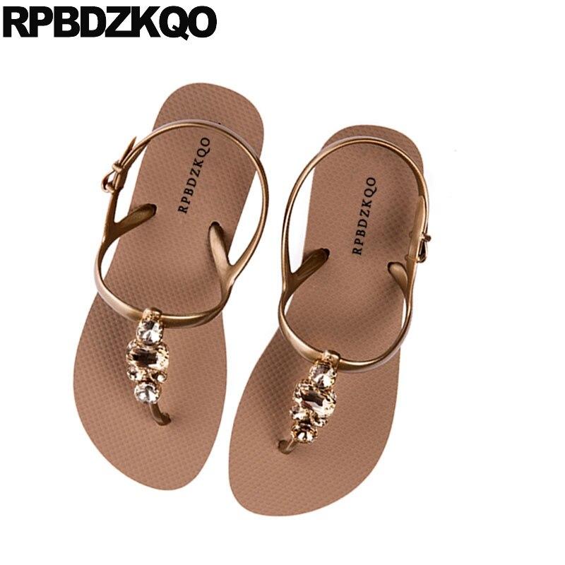 11625b27c7c706 ... Bohemia Holiday Sandals Fashion T Women Diamond Flat Beach Rhinestone  Shoes Gold Leisure Strap Slingback Jewel ...