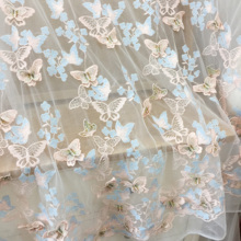 1 yard Pastel 3D Butterfly Applique Lace Fabric Flowers Nail Bead High End European 130cm wide