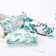 1pcs/lot Korean Green Leaves Cute Large Capacity Pencil Case Stationery Zipper Bag For School And Office Supply