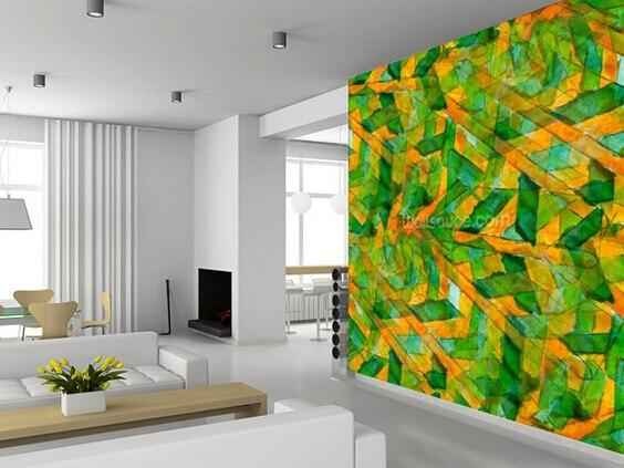 Personnalisé 3D RÉTRO art papier peint, Picasso Vert Jaune Cubisme ...