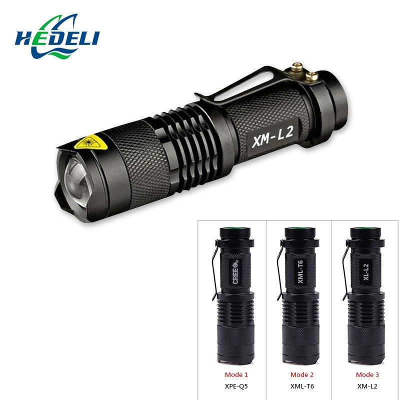 Mini small flashlight compact light zoom LED flashlight CREE XM-L2 xml-t6 xpe-q5 life lighting bike hiking 18650 or 14500battery