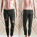 Rasgó Los Pantalones Flacos de las mujeres de Cintura Alta Stretch Jeans Pantalones Lápiz Delgado