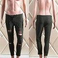 Skinny jeans Rasgado Calças Jeans Stretch de Cintura Alta das mulheres Calças Lápis Slim