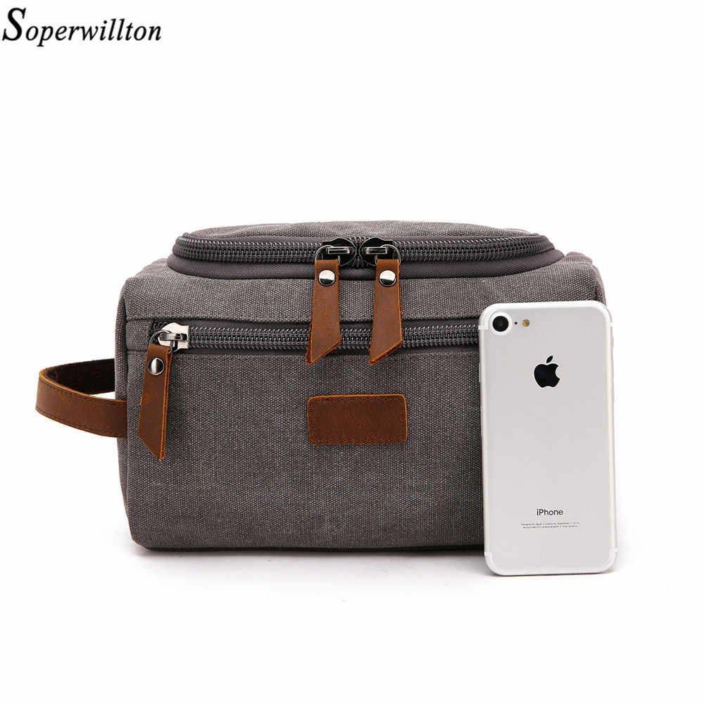 Soperwillton Men Travel Toiletry Bag 2019 Overnight bag Packing Cubes Bags Dopp Kit for Men Canvas Leather Travel Bag #601